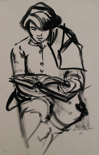"Kath reading from Delacroix journal<br /><br />Medium: Ink on paper<br />Price: Sold<br /><a href=""Artwork-Armstrong-KathreadingfromDelacroixjournal-1859.htm"">View full artwork details</a>"