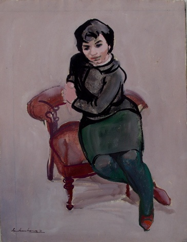 "Kathy 1960s<br /><br />Medium: Charcoal &amp; gouache on paper<br />Price: Sold<br /><a href=""Artwork-Armstrong-Kathy1960s-1890.htm"">View full artwork details</a>"