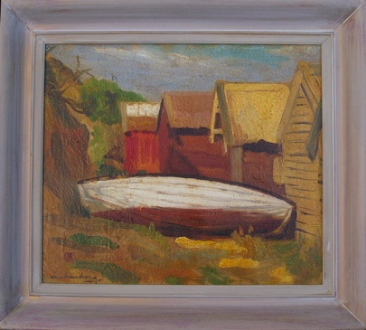 "Mentone Boatsheds<br /><br />Medium: Oil on canvas<br />Price: Sold<br /><a href=""Artwork-Armstrong-MentoneBoatsheds-1861.htm"">View full artwork details</a>"