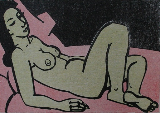 "Nude 1987 - pink<br /><br />Medium: Woodcut<br />Price: Sold<br /><a href=""Artwork-Armstrong-Nude1987pink-1891.htm"">View full artwork details</a>"