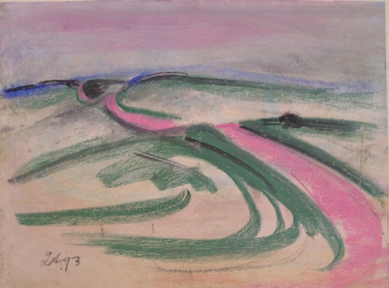 "(Pink road)<br /><br />Medium: Pastel<br />Price: $1,500<br /><a href=""Artwork-Armstrong-Pinkroad-1537.htm"">View full artwork details</a>"