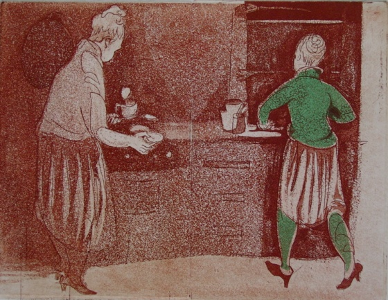 "Poached eggs and coffee<br /><br />Medium: Etching<br />Price: $750<br /><a href=""Artwork-Armstrong-Poachedeggsandcoffee-1574.htm"">View full artwork details</a>"