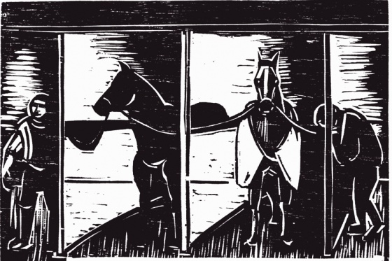 "Racing stalls<br /><br />Medium: Woodcut<br />Price: $500<br /><a href=""Artwork-Armstrong-Racingstalls-1576.htm"">View full artwork details</a>"