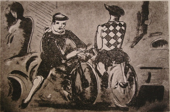 "(The Cyclists)<br /><br />Medium: Etching<br />Price: $650<br /><a href=""Artwork-Armstrong-TheCyclists-1539.htm"">View full artwork details</a>"