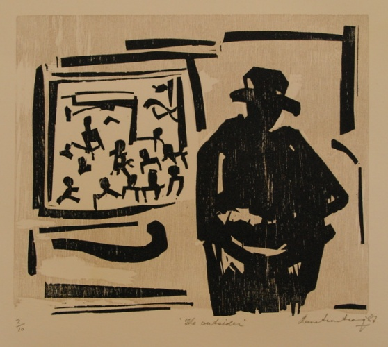 "<h4 style=""margin:0px 0px 5px 0px;"">The Outsider</h4>Medium: Woodcut<br />Price: $500 <span style=""color:#aaa"">