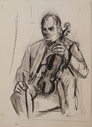 "The Violinist<br /><br />Medium: Charcoal &amp; ink on paper<br />Price: $1,800<br /><a href=""Artwork-Armstrong-TheViolinist-1878.htm"">View full artwork details</a>"