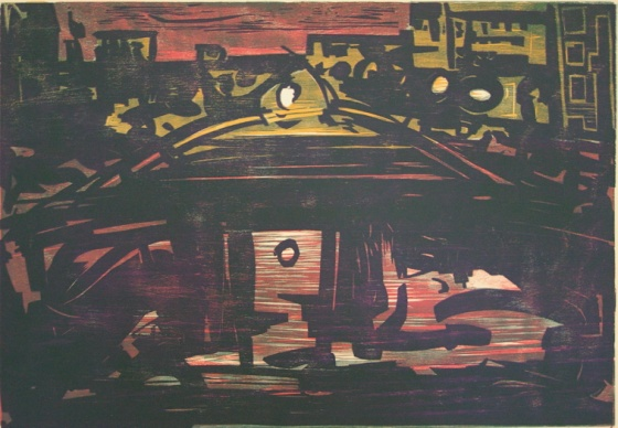 "The Yarra at night<br /><br />Medium: Woodcut<br />Price: $900<br /><a href=""Artwork-Armstrong-TheYarraatnight-1584.htm"">View full artwork details</a>"