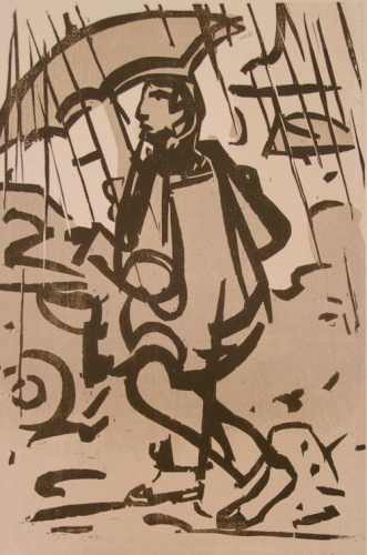"Walking in the rain<br /><br />Medium: Woodcut<br />Price: $900<br /><a href=""Artwork-Armstrong-Walkingintherain-1589.htm"">View full artwork details</a>"