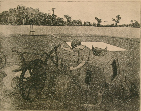 "<h4 style=""margin:0px 0px 5px 0px"">(White knoll plough)</h4>Medium: Etching<br />Price: $650 