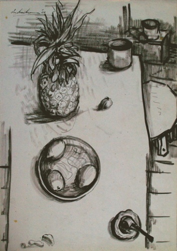 "<h4 style=""margin:0px 0px 5px 0px;"">White table, Still-life</h4>Medium: Ink on paper<br />Price: $3,000 <span style=""color:#aaa"">