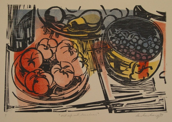 "<h4 style=""margin:0px 0px 5px 0px"">Still life with tomatoes by Ian Armstrong</h4>Medium: Woodcut<br />Price: $800 