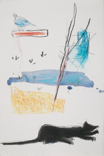 "Bird and Cat<br /><br />Medium: Pencil, Pastel and Watercolour on paper<br />Price: $ Price On Application<br /><a href=""Artwork-Barrett-BirdandCat-2916.htm"">View full artwork details</a>"