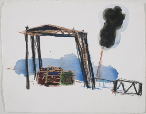 "Hayshed - Seaton<br /><br />Medium: Pencil and Crayon on paper<br />Price: Sold<br /><a href=""Artwork-Barrett-HayshedSeaton-2922.htm"">View full artwork details</a>"