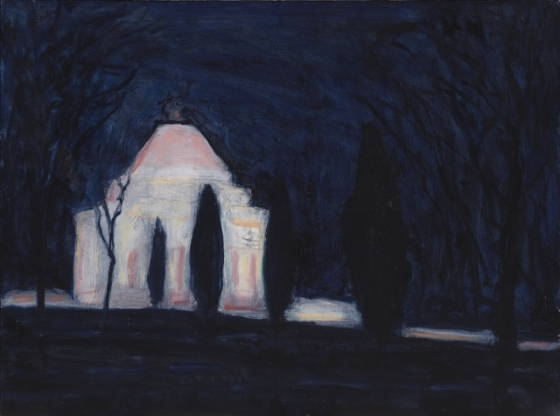 "Night Shrine<br /><br />Medium: Oil on linen on board, Framed<br />Price: Sold<br /><a href=""Artwork-Barrett-NightShrine-2988.htm"">View full artwork details</a>"