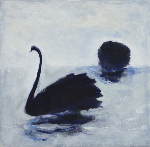 "Swans<br /><br />Medium: oil on linen, Framed<br />Price: $1,800<br /><a href=""Artwork-Barrett-Swans-2991.htm"">View full artwork details</a>"