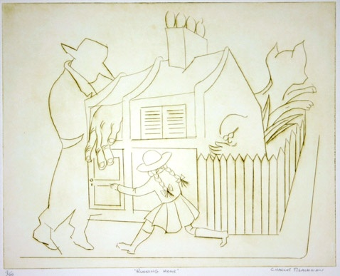 "Running Home<br /><br />Medium: Drypoint<br />Price: $2,500<br /><a href=""Artwork-Blackman-RunningHome-48.htm"">View full artwork details</a>"