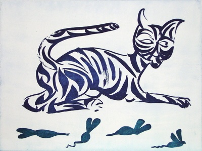 "<h4 style=""margin:0px 0px 5px 0px;"">Tiger Tiger - Blue</h4>Medium: Etching<br />Price: $2,000 <span style=""color:#aaa"">