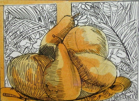 "<h4 style=""margin:0px 0px 5px 0px;"">Untitled (Plate of Fruit) Yellow</h4>Medium: Etching<br />Price: $1,200 <span style=""color:#aaa"">