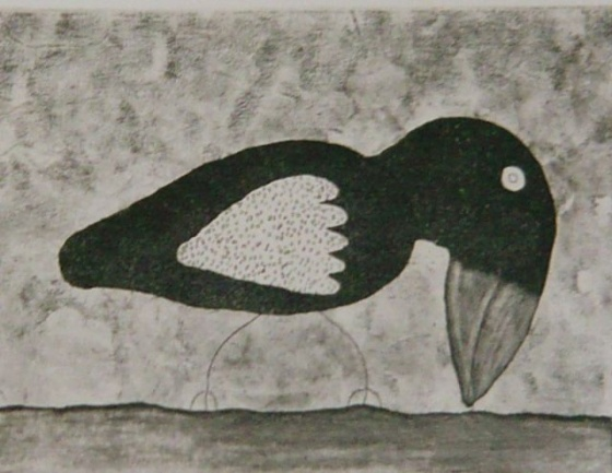 "Bird searching for worms<br /><br />Medium: Etching<br />Price: $385<br /><a href=""Artwork-Bowen-Birdsearchingforworms-2547.htm"">View full artwork details</a>"