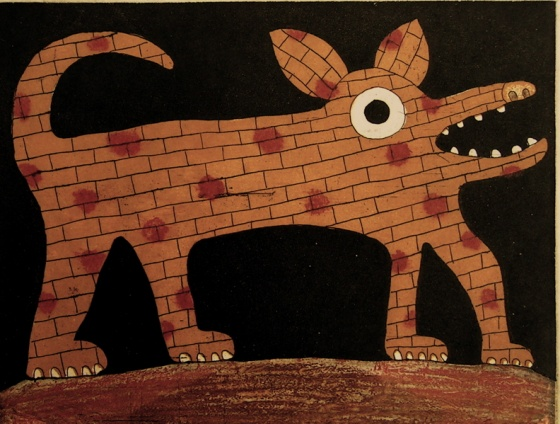 "<h4 style=""margin:0px 0px 5px 0px;"">Brick dog</h4>Medium: Etching<br />Price: $350 <span style=""color:#aaa"">
