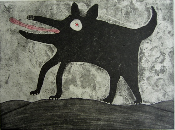 "<h4 style=""margin:0px 0px 5px 0px"">Dog chasing insect</h4>Medium: Etching<br />Price: $385 