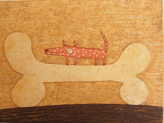 "<h4 style=""margin:0px 0px 5px 0px;"">Dog with a bone</h4>Medium: Etching<br />Price: $350 <span style=""color:#aaa"">