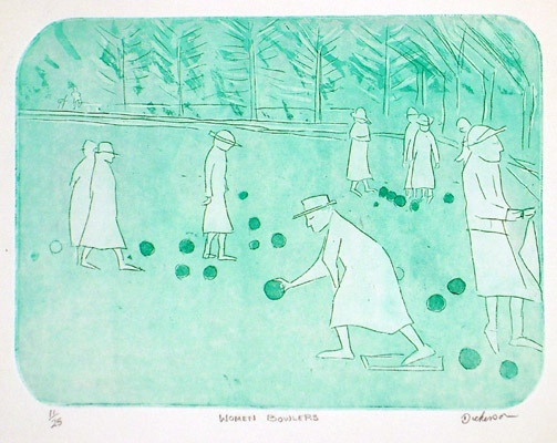 "<h4 style=""margin:0px 0px 5px 0px"">Woman Bowlers</h4>Medium: Etching<br />Price: $1,100 