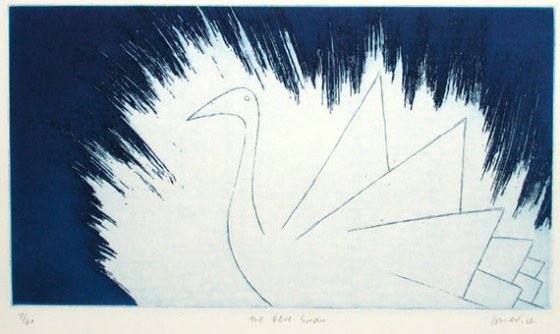 "<h4 style=""margin:0px 0px 5px 0px"">The Blue Swan</h4>Medium: Etching<br />Price: $400 