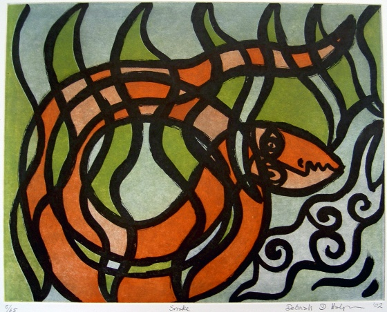 "Snake<br /><br />Medium: Etching<br />Price: $700<br /><a href=""Artwork-Halpern-Snake-654.htm"">View full artwork details</a>"