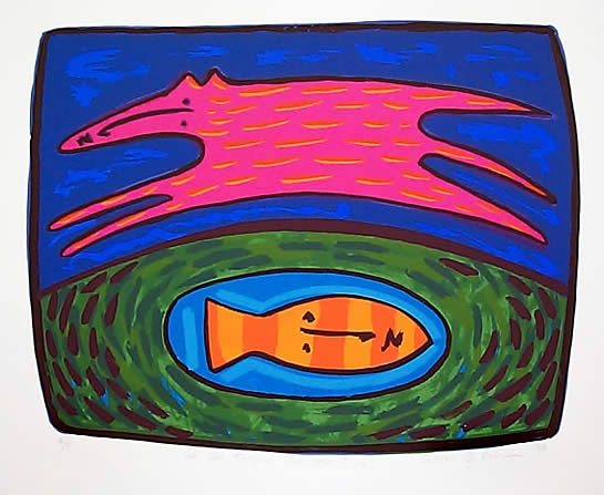"The Dog jumped over the Fish<br /><br />Medium: Screenprint<br />Price: $660<br /><a href=""Artwork-Halpern-TheDogjumpedovertheFish-194.htm"">View full artwork details</a>"