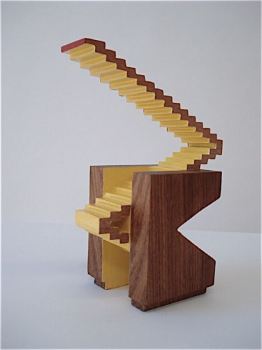 "<h4 style=""margin:0px 0px 5px 0px"">Escalator (reverse view) by Robert Hawkins</h4>Medium: Timber & enamel paint<br />Price: $700 