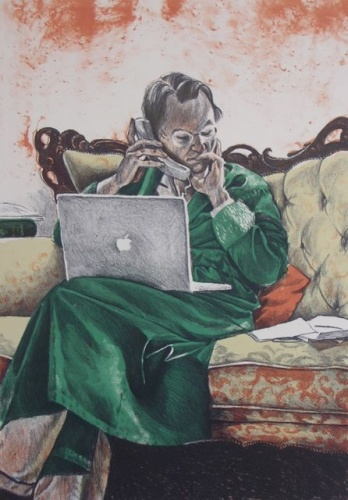 "The Green Dressing Gown<br /><br />Medium: Lithograph<br />Price: $1,150<br /><a href=""Artwork-Headlam-TheGreenDressingGown-2278.htm"">View full artwork details</a>"