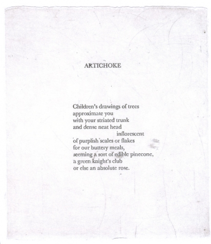 "<h4 style=""margin:0px 0px 5px 0px"">Artichoke, The Bits and Pieces (Selected Poems) by Chris Wallace Crabbe by Kristin Headlam</h4>Medium: Etching<br />Price: $60<span class=""helptip"" style=""color:#ff0000;"" title=""This edition has been partially sold""><img src=""/images/reddotpartially.gif"" border=""0"" height=""10"" /></span> 