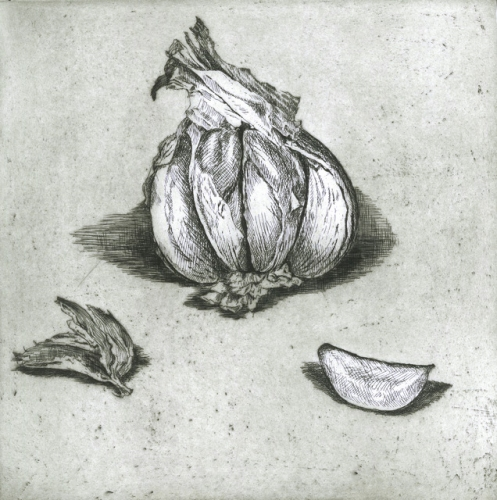 "<h4 style=""margin:0px 0px 5px 0px"">Garlic by Kristin Headlam</h4>Medium: Etching &amp; Drypoint<br />Price: $700<span class=""helptip"" style=""color:#ff0000;"" title=""This edition has been partially sold""><img src=""/images/reddotpartially.gif"" border=""0"" height=""10"" /></span> 