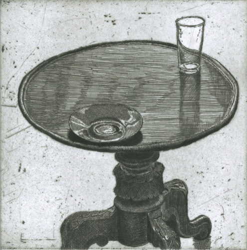 "<h4 style=""margin:0px 0px 5px 0px"">Saucer by Kristin Headlam</h4>Medium: Etching &amp; Drypoint<br />Price: $700<span class=""helptip"" style=""color:#ff0000;"" title=""This edition has been partially sold""><img src=""/images/reddotpartially.gif"" border=""0"" height=""10"" /></span> 