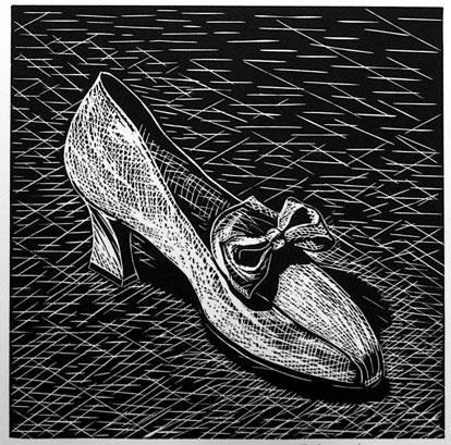 "White Shoe<br /><br />Medium: Linocut<br />Price: $300<br /><a href=""Artwork-Jones-WhiteShoe-1106.htm"">View full artwork details</a>"