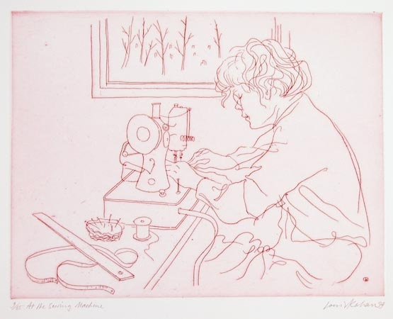 "<h4 style=""margin:0px 0px 5px 0px"">At the sewing machine</h4>Medium: Etching<br />Price: $660 