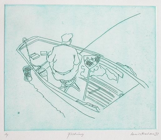 "Fishing 2<br /><br />Medium: Etching<br />Price: $660<br /><a href=""Artwork-Kahan-Fishing2-3032.htm"">View full artwork details</a>"