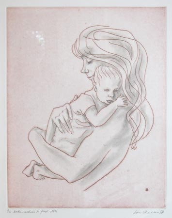 Mother & Child XI (handcoloured) by Louis Kahan