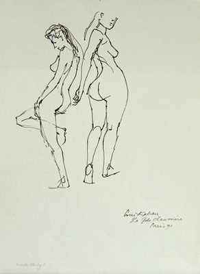 "Nude Study, La Gde Chaumiere<br /><br />Medium: Pen and Ink<br />Price: $1,800<br /><a href=""Artwork-Kahan-NudeStudyLaGdeChaumiere-1057.htm"">View full artwork details</a>"