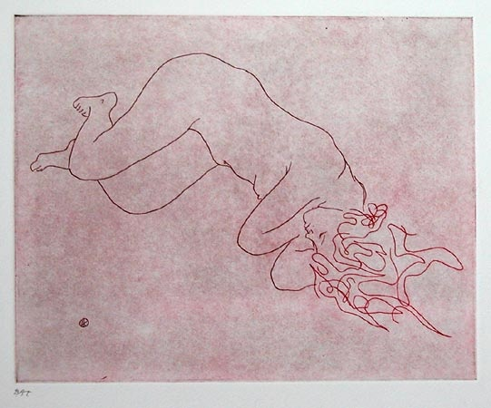 "Nude with long hair II<br /><br />Medium: Etching<br />Price: $660<br /><a href=""Artwork-Kahan-NudewithlonghairII-253.htm"">View full artwork details</a>"