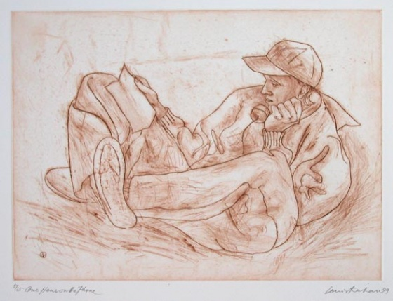 "One hour on the phone<br /><br />Medium: Etching<br />Price: $660<br /><a href=""Artwork-Kahan-Onehouronthephone-255.htm"">View full artwork details</a>"