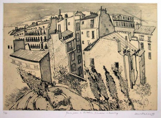 "<h4 style=""margin:0px 0px 5px 0px;"">Paris, from a kitchen window - Evening</h4>Medium: Etching<br />Price: $990 <span style=""color:#aaa"">