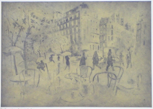 "<h4 style=""margin:0px 0px 5px 0px;"">Remembering Paris in the Rain</h4>Medium: Etching<br />Price: $1,800 <span style=""color:#aaa"">