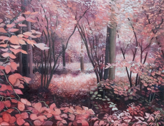 "<h4 style=""margin:0px 0px 5px 0px;"">Pink Forrest</h4>Medium: Oil on Marine Ply, Framed<br />Price: $2,500 <span style=""color:#aaa"">