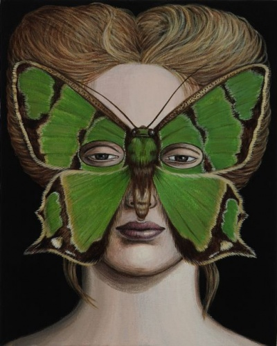 "Agathia pisina Moth Mask<br /><br />Medium: Acrylic on canvas x 16 panels<br />Price: $1,200<br /><a href=""Artwork-Klein-AgathiapisinaMothMask-2499.htm"">View full artwork details</a>"
