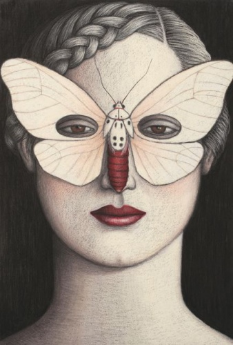 "Amerila alberti Moth Mask, Framed<br /><br />Medium: Oil pastel on paper<br />Price: Sold<br /><a href=""Artwork-Klein-AmerilaalbertiMothMaskFramed-2479.htm"">View full artwork details</a>"