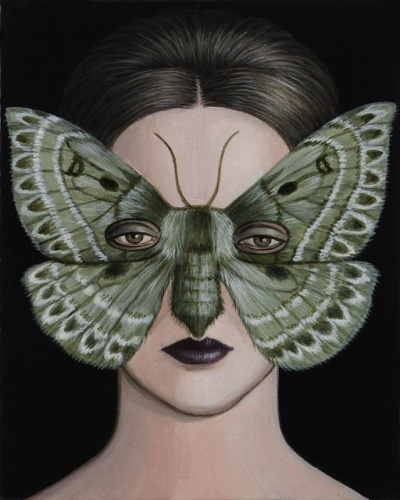 "Anthela oressarcha Moth Mask<br /><br />Medium: Acrylic on canvas<br />Price: Sold<br /><a href=""Artwork-Klein-AnthelaoressarchaMothMask-2500.htm"">View full artwork details</a>"