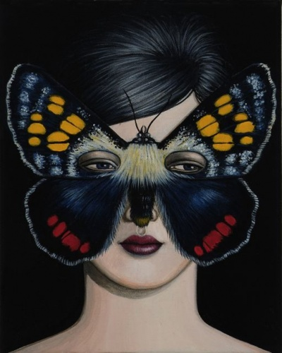 "Aragista agricola Moth Mask <br /><br />Medium: Acrylic on canvas<br />Price: Sold<br /><a href=""Artwork-Klein-AragistaagricolaMothMask-2502.htm"">View full artwork details</a>"