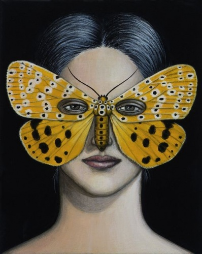 "Argina astrea Moth Mask  <br /><br />Medium: Acrylic on canvas<br />Price: Sold<br /><a href=""Artwork-Klein-ArginaastreaMothMask-2503.htm"">View full artwork details</a>"